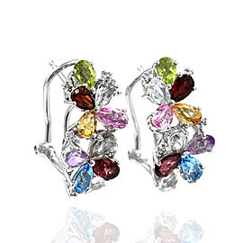 14K White Gold Multi-Color Gemstone and Diamond Earrings