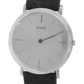 Piaget 9021 18K White Gold & Leather Manual Vintage 31mm Unisex Watch