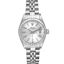 Rolex Date Silver Baton Dial Automatic Steel Ladies Watch 6924 Box