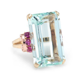 Vintage 14K Yellow Gold with 0.40ct Aquamarine and 0.50ct Ruby Retro Cocktail Ring Size 8.25