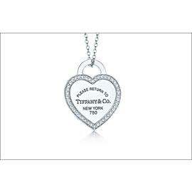 Tiffany & Co. Please Return to Tiffany 18K White Gold with 0.20ctw Diamond Heart Pendant