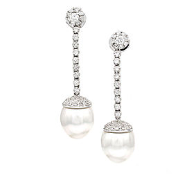 White South Sea Pearl and Pave Diamond Earrings in Gold