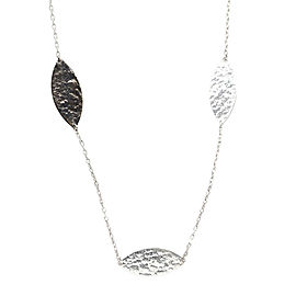 Gurhan 925 Sterling Silver and 24K Yellow Gold Willow Lake Hammered Necklace