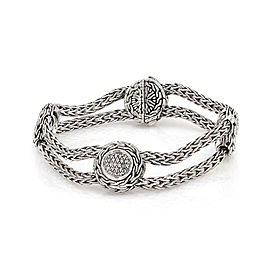 John Hardy 925 Sterling Silver with 0.34ctw Diamonds Classic Chain Bracelet