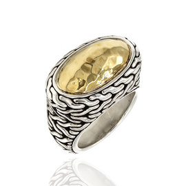 John Hardy 925 Sterling Silver and 22K Yellow Gold Classic Chain Ring Size 5.75