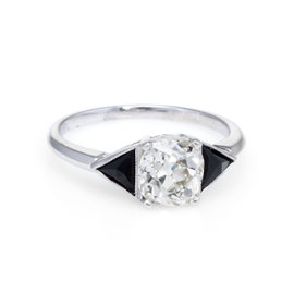 900 Platinum 1.20ct Diamond and 0.50ct Onyx Engagement Vintage Ring Size 5.5