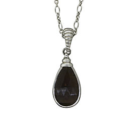John Hardy 925 Sterling Silver Teardrop Smoky Quartz Pendant Chain Necklace