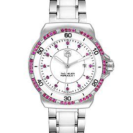 TAG Heuer Formula 1 Ceramic Pink Sapphires Ladies Watch WAH1319 Box Card