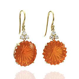 Fancy Cut Orange Fire Opal and Diamond Earrings in 18K Yellow Gold | FJ