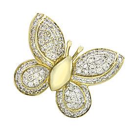 Pavé Diamond Butterfly Pendant in 14K Yellow Gold | FJ