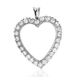 Diamond Heart Pendant w/ Milgrain Details in 14K White Gold | FJ