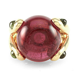 Cabochon Cut Pink Tourmaline Ring w/ Peridot Accents in 18K Rose Gold