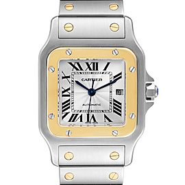 Cartier Santos Galbee Steel Yellow Gold Mens Watch W20058C4 Box Papers
