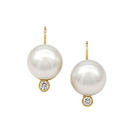 South Sea Pearl and Diamond Earrings in 18K Yellow Gold