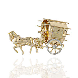 Bucherer 18K Yellow Gold Manual Wind Watch Brooch with Diamonds