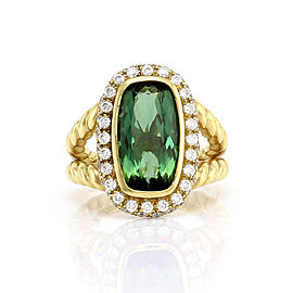 Tourmaline and Diamond Halo Ring in 18K Yellow Gold