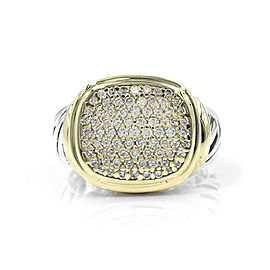 David Yurman Noblesse 18K Yellow Gold, Sterling Silver Diamond Ring Size 7.75