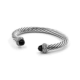 David Yurman Moonlight Sterling Silver Onyx, Diamond Bracelet