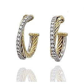 David Yurman Crossover 18K Yellow Gold Diamond Earrings