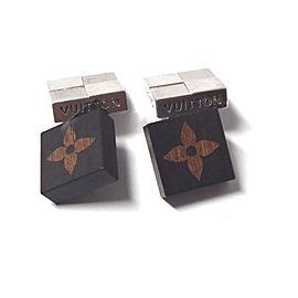 Louis Vuitton Damier Silver Tone Wooden Cufflinks