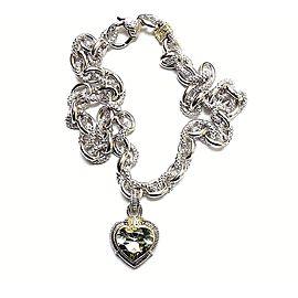 Judith Ripka Sterling Silver 18K Yellow Gold Diamond Quartz Pendant Necklace