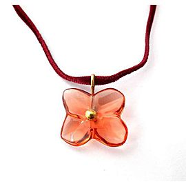 Baccarat 18K Yellow Gold Crystal Flower Pendant Necklace