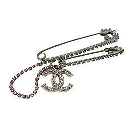 Chanel CC Silver Tone Rhinestone Brooch