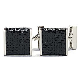 Louis Vuitton Leather Silver Tone Cufflinks