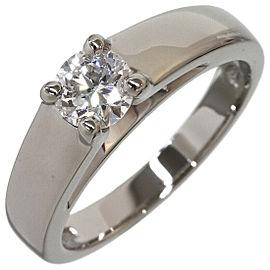 Bvlgari 0.422ct Solitaire Diamond Ring Platinum 950 US4.75 w/Box,Cert