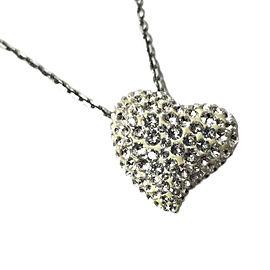 Swarovski Silver Tone Hardware with Rhinestone Heart Pendant Necklace