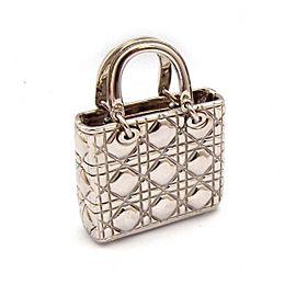 Christian Dior Silver Tone Handbag Charm Pendant
