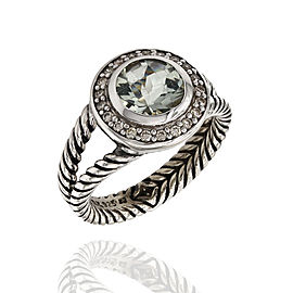 David Yurman Cerise Sterling Silver Iolite, Diamond Ring Size 7