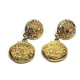 Chanel Gold Tone Metal Drop Clip On Earrings