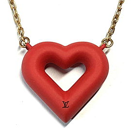 Louis Vuitton Gold Tone Heart Pendant Necklace