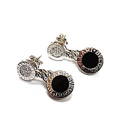 Bulgari 18K White Gold Diamond Onyx Earrings