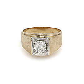 Men's 1.01ct Diamond Solitaire Ring in 14K Yellow Gold
