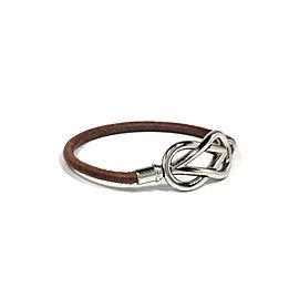 Hermes Sterling Silver Leather Bracelet