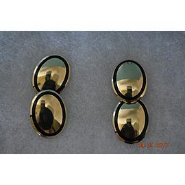 Tiffany & Co. 18K Yellow Gold Black Ovals Enamel Cufflinks