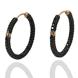 7.76ctw Black Diamond Hoop Earrings in 18K Rose Gold | FJ