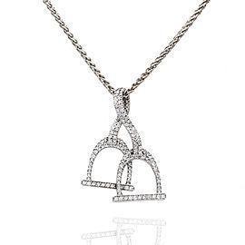 Pave Diamond English Stirrups Necklace in 14K White Gold | FJ