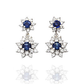 Sapphire and Diamond Earrings in 14K White Gold with Dangle Jackets | FJ