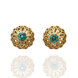 Omega 18K Yellow Gold Turquoise Earrings