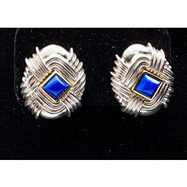 Tiffany & Co. Sterling Silver Lapis Vintage Earrings