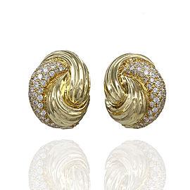 Henry Dunay 18K Yellow Gold Diamond Earrings