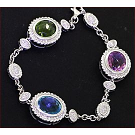 14K White Gold 10.68ctw Pink & Green Tourmalines, Topaz & Diamond Bracelet