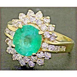 14K Yellow Gold Emerald, Diamond Engagement Ring Size 7.75