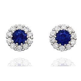 18K White Gold Sapphire, Diamond Earrings