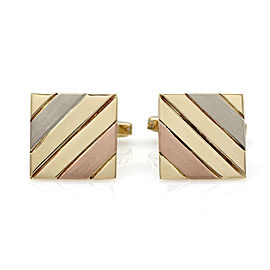 Square Cufflinks in Three Tone Gold