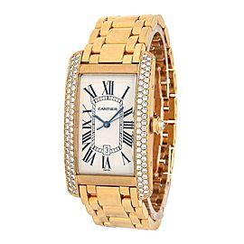 Cartier Tank Americaine 18k Rose Gold Diamond Bezel Automatic Men's Watch 2340