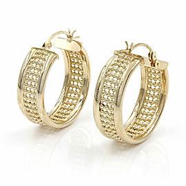 Beaded Hoop Earrings in Gold
